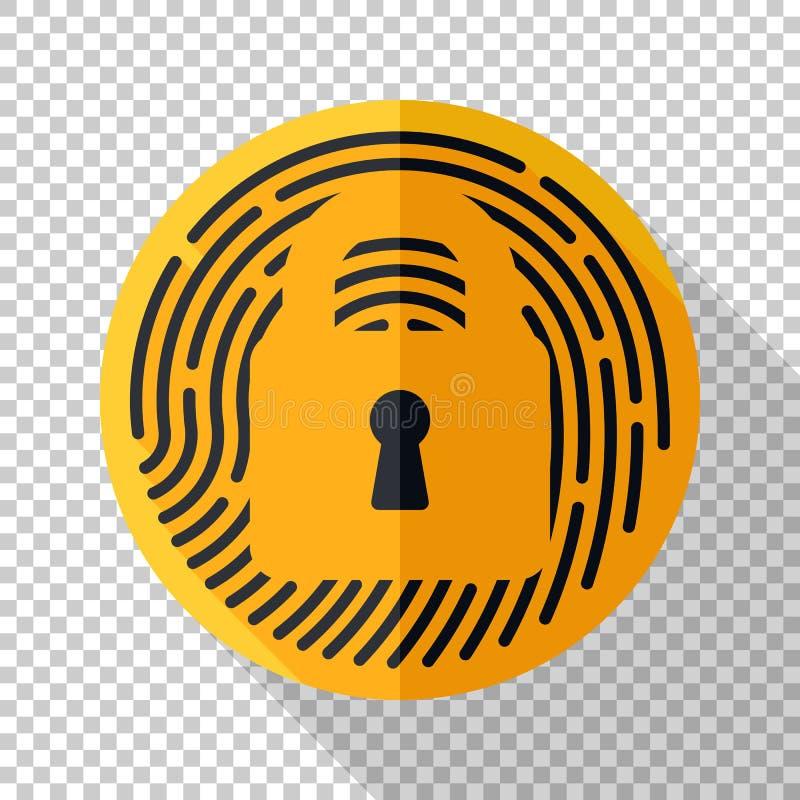 Icono de la huella dactilar de la identificación del tacto en estilo plano en fondo transparente libre illustration