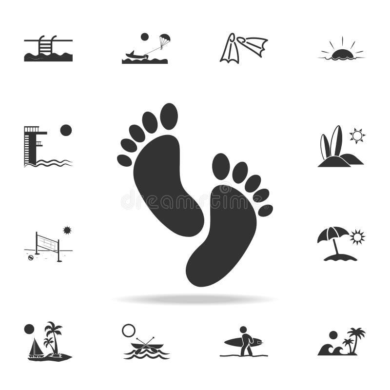Icono de la huella Sistema detallado de iconos de los días de fiesta de la playa Diseño gráfico de la calidad superior Uno de los libre illustration