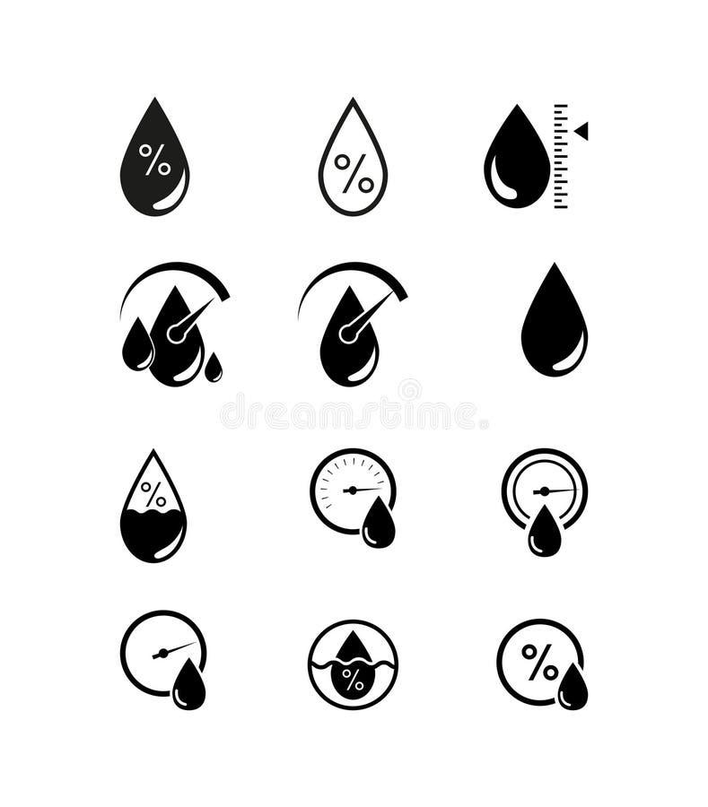 Icono de la humedad, sensor del tiempo de la humedad, logotipo de la etiqueta autoadhesiva - vector el ejemplo libre illustration