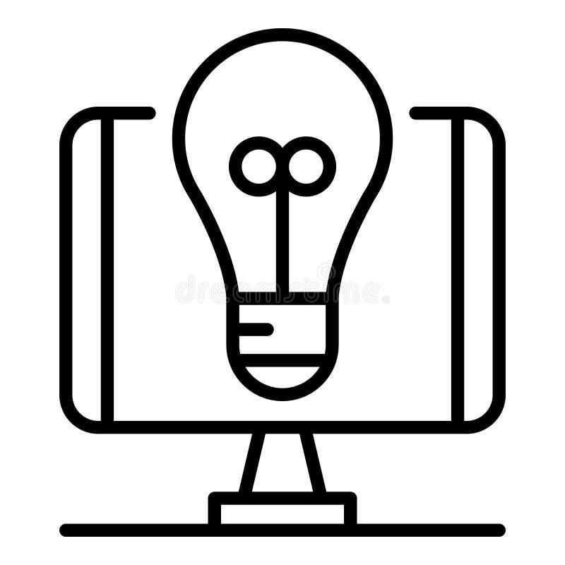 Icono de la idea del bulbo del blog, estilo del esquema libre illustration