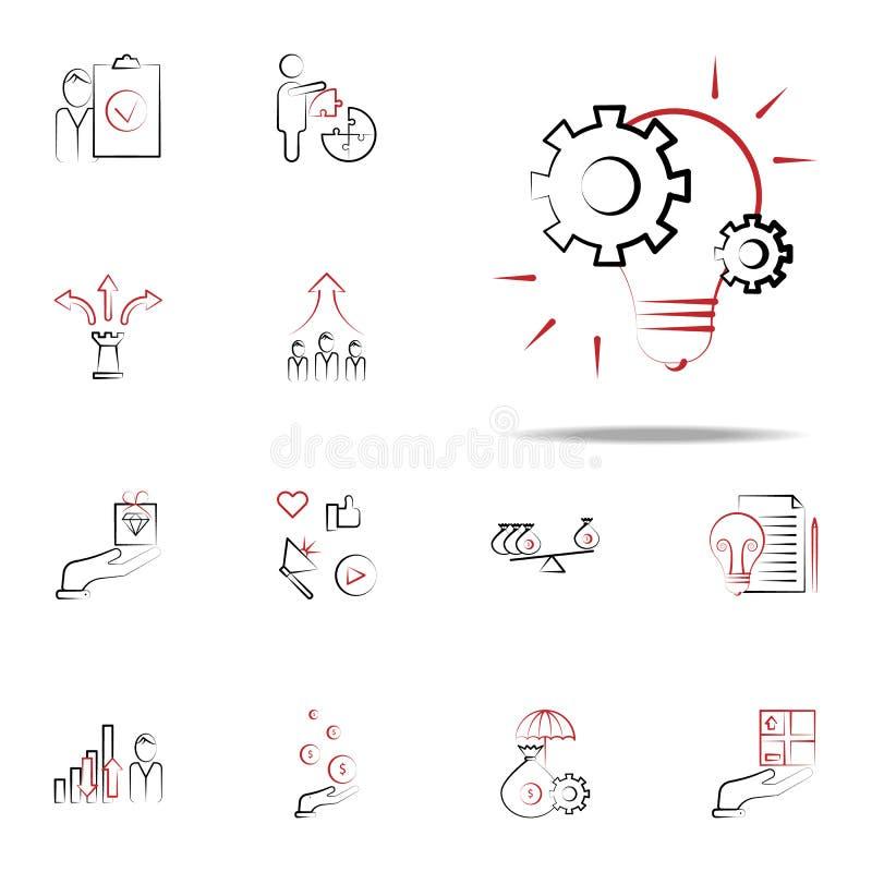Icono de la idea de la gestión del proyecto Sistema universal de los iconos del negocio y de la gestión para la web y el móvil stock de ilustración