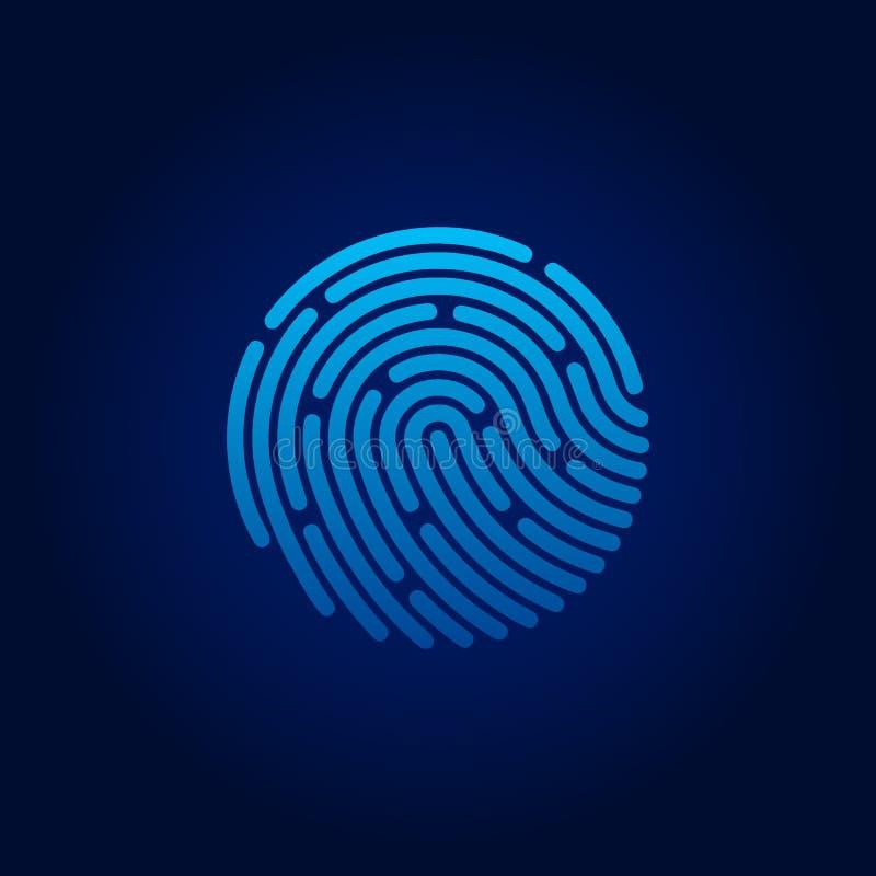 Icono de la identificación app fingerprint Concepto de protección de datos personal Ilustración del vector libre illustration