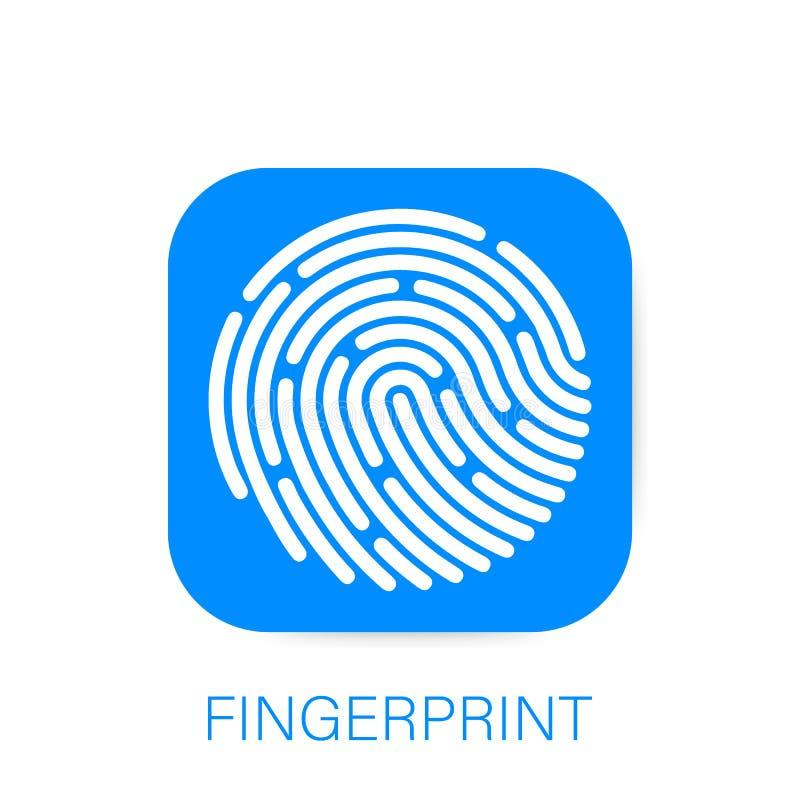 Icono de la identificación app fingerprint Concepto de protección de datos personal Ilustración del vector ilustración del vector