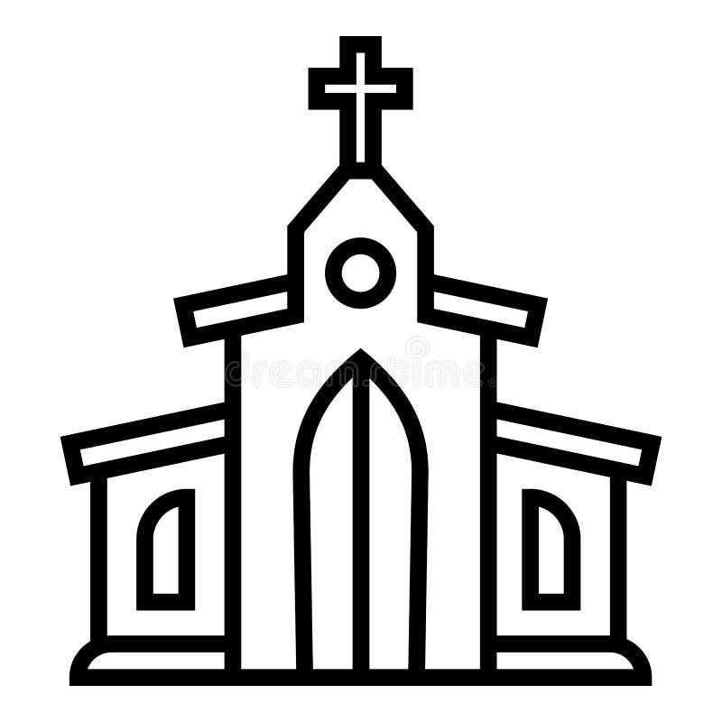 Icono de la iglesia cat?lica, estilo del esquema ilustración del vector