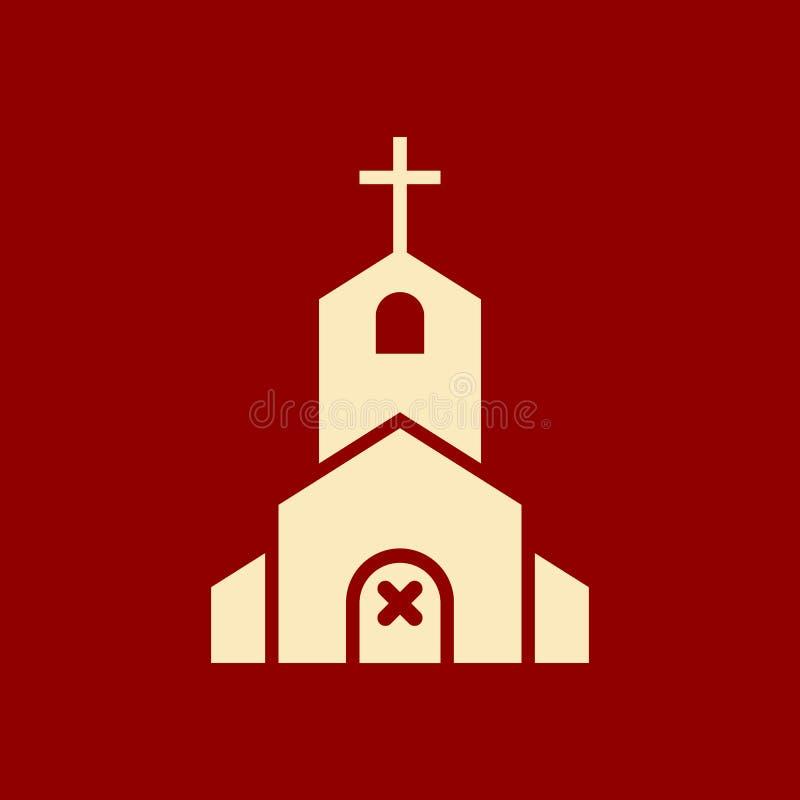 Icono de la iglesia, edificio de la religión, cristiano, icono del templo del cristianismo con la muestra de la cancelación El ic ilustración del vector