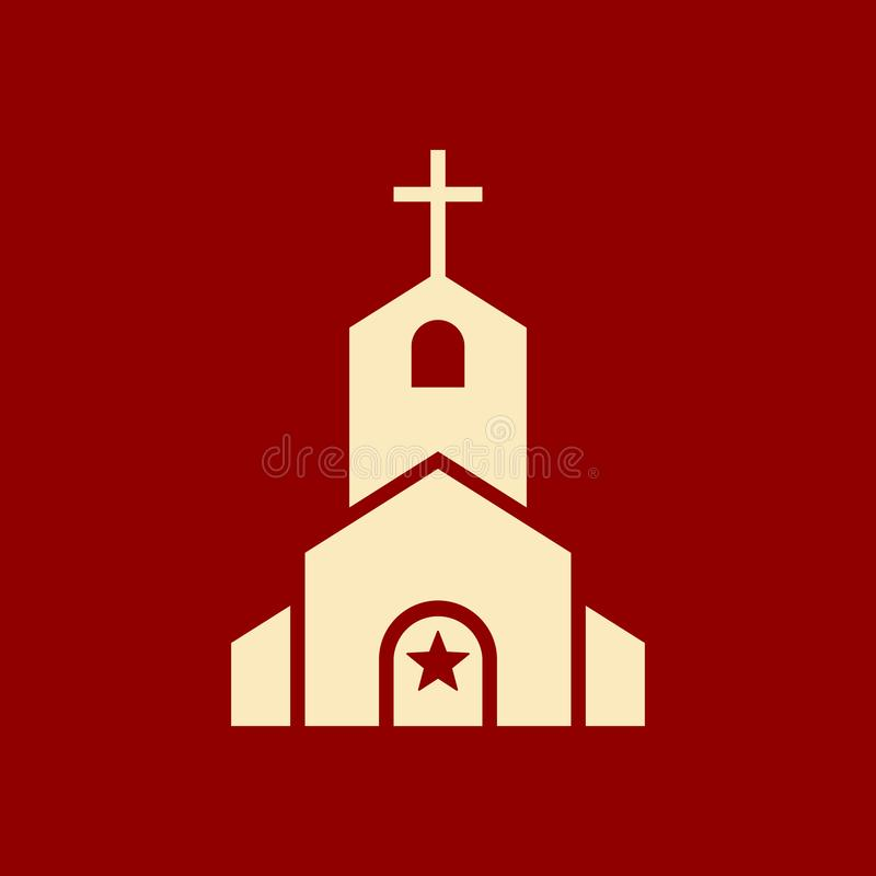 Icono de la iglesia, edificio de la religión, cristiano, icono del templo del cristianismo con la muestra de la estrella Icono de libre illustration