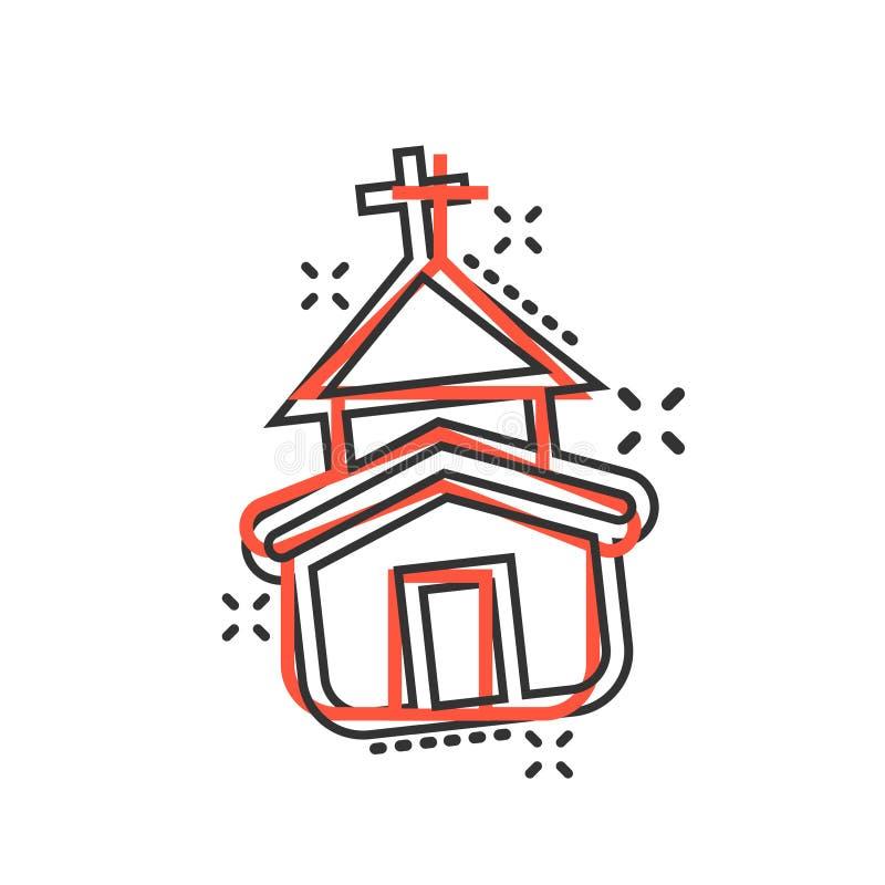 Icono de la iglesia en estilo cómico Ejemplo de la historieta del vector de la capilla en el fondo aislado blanco Concepto constr ilustración del vector