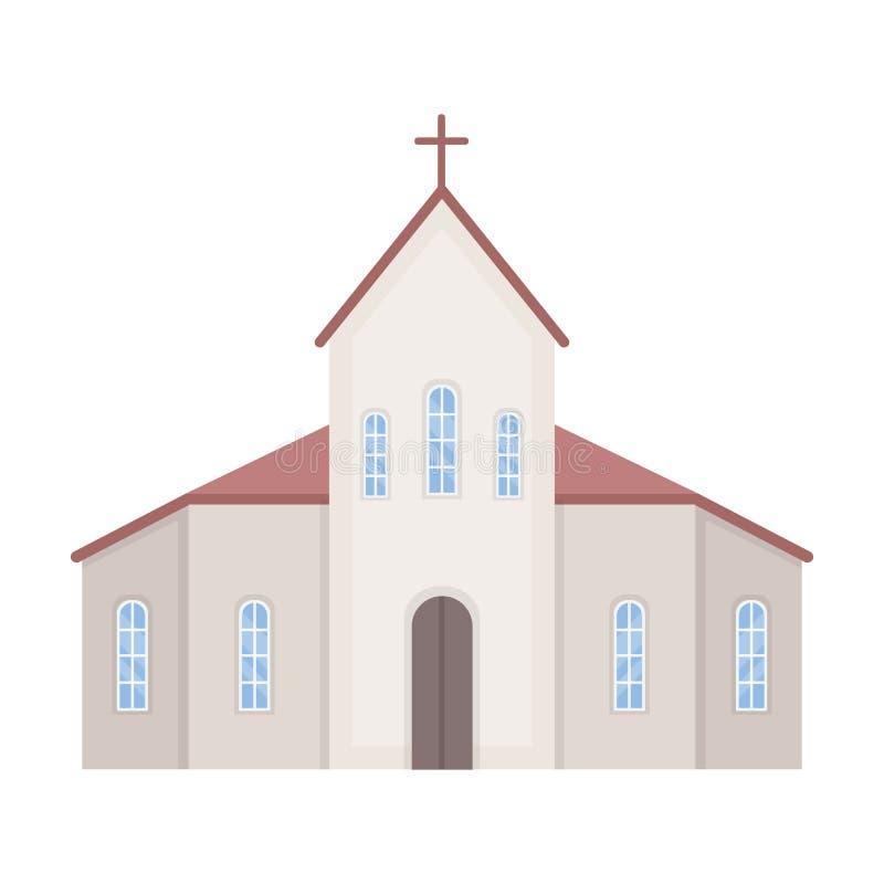 Icono de la iglesia en estilo de la historieta aislado en el fondo blanco Ejemplo del vector de la acción del símbolo de la cerem libre illustration