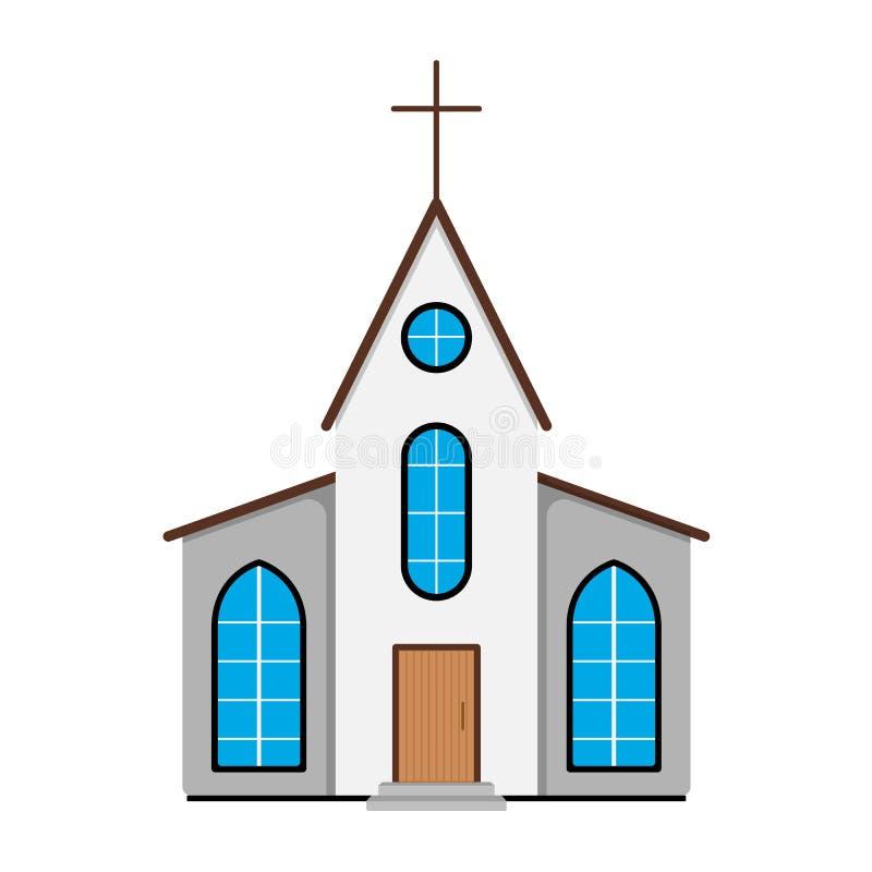 Icono de la iglesia Etiqueta de Pascua en el fondo blanco Estilo de la historieta VE stock de ilustración