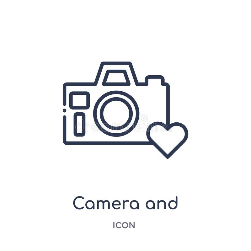 icono de la imagen de la cámara y del corazón de la colección del esquema de la tecnología Línea fina cámara e icono de la imagen ilustración del vector