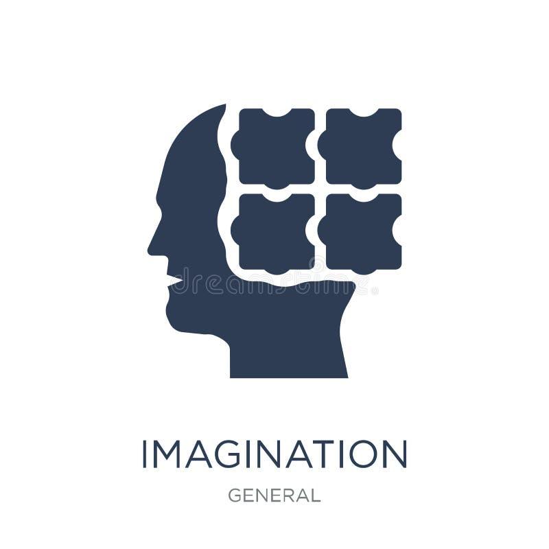 Icono de la imaginación Icono plano de moda de la imaginación del vector en b blanco ilustración del vector