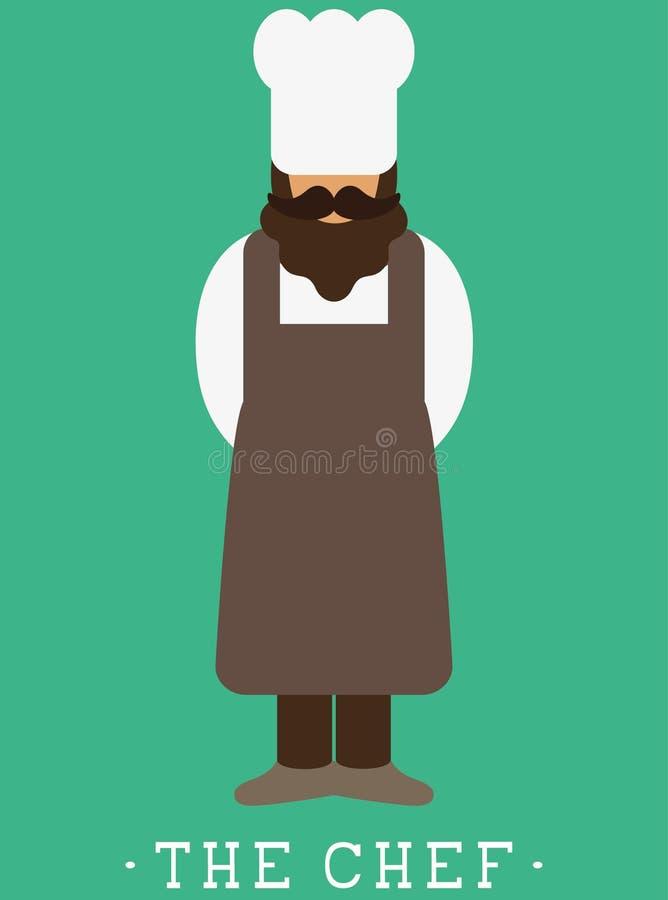 Icono de la impresión coloreada del cocinero/del panadero del cocinero un hombre con un bigote una barba que lleva un sombrero de ilustración del vector