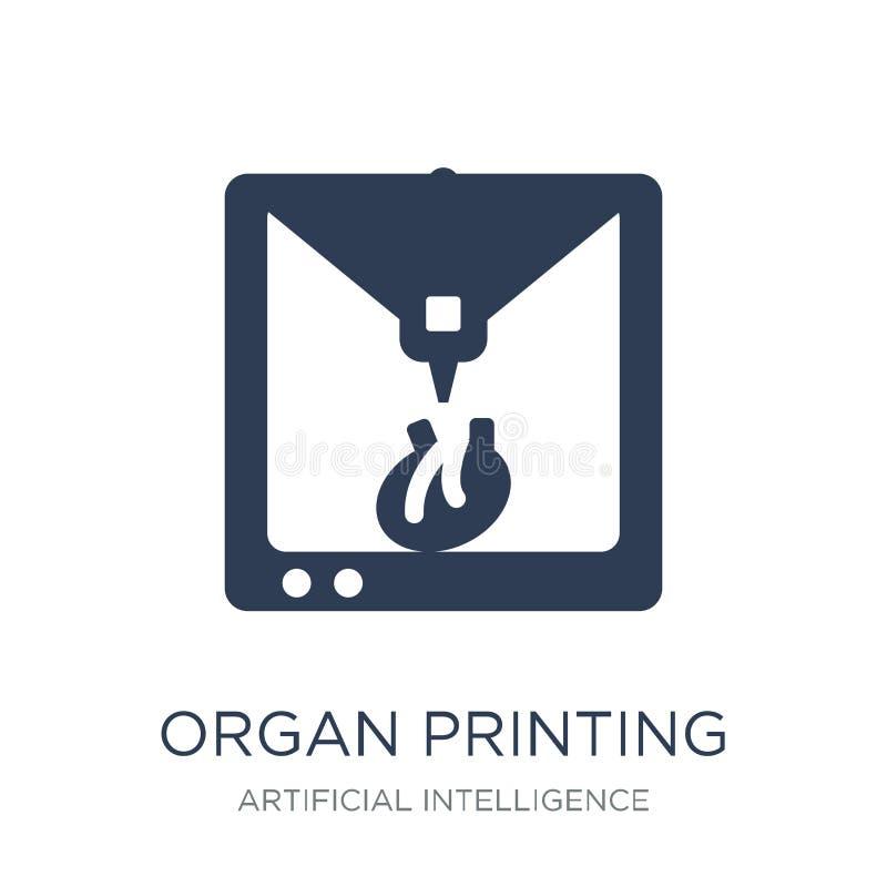 Icono de la impresión del órgano Icono plano de moda de la impresión del órgano del vector en w stock de ilustración