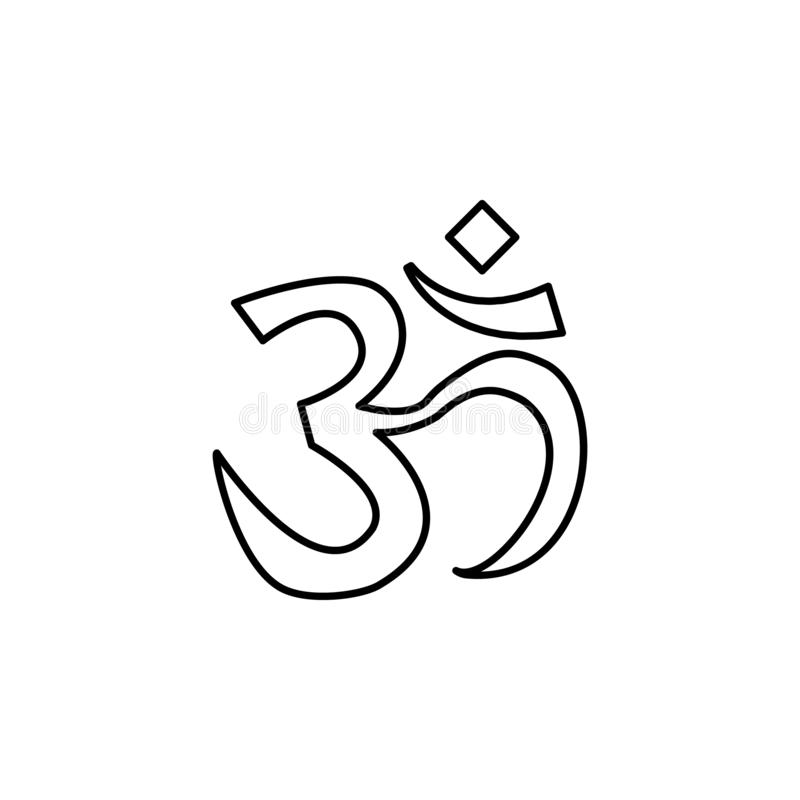 Icono de la India, OM Elemento del icono de la cultura de la India Línea fina icono para el diseño y el desarrollo, desarrollo de libre illustration