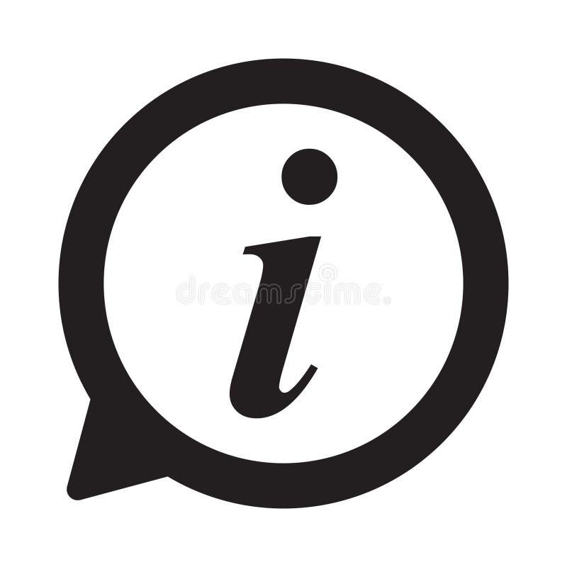 Icono de la información, icono de la muestra de la información Símbolo de la burbuja del discurso de la información Pongo letras  stock de ilustración