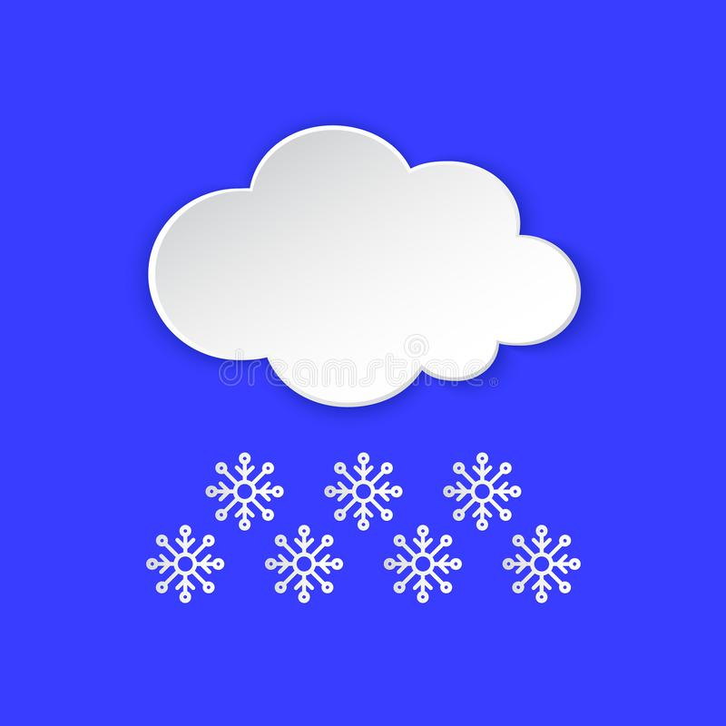 Icono de la informaci?n del tiempo del invierno del copo de nieve La nieve forma escamas estilo nevoso del corte del papel del d? ilustración del vector