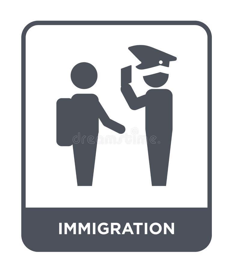 icono de la inmigración en estilo de moda del diseño icono de la inmigración aislado en el fondo blanco icono del vector de la in stock de ilustración
