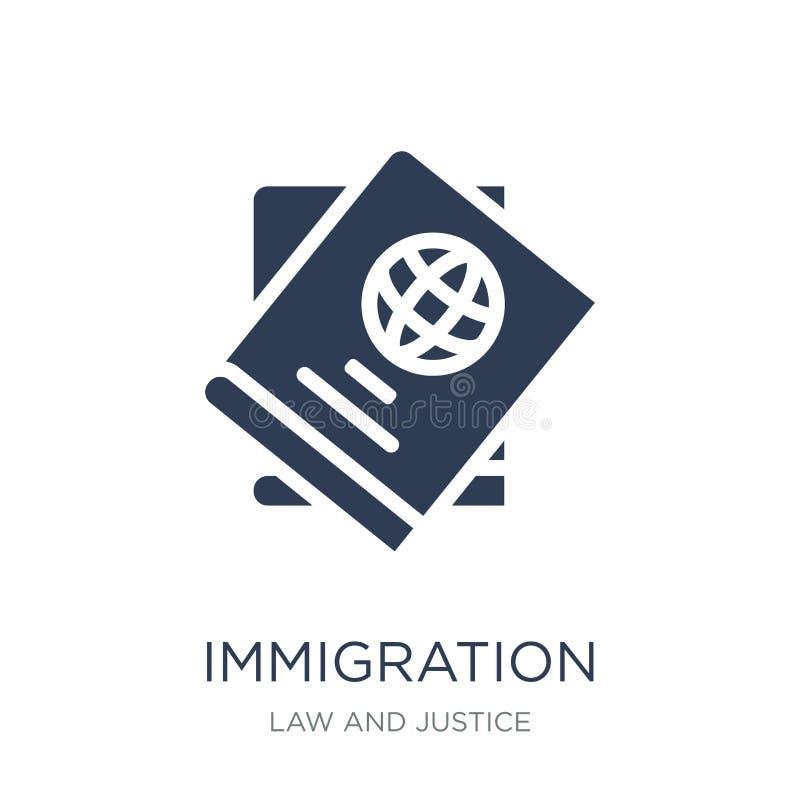 icono de la inmigración Icono plano de moda de la inmigración del vector en b blanco libre illustration