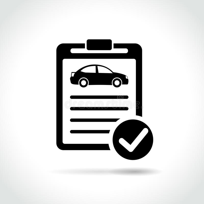 Icono de la inspección del coche en el fondo blanco stock de ilustración