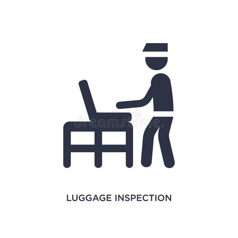 icono de la inspección del equipaje en el fondo blanco Ejemplo simple del elemento del concepto del terminal de aeropuerto ilustración del vector