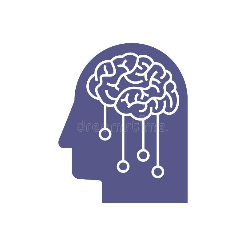 Icono de la inteligencia artificial Concepto profundo del aprendizaje de máquina stock de ilustración