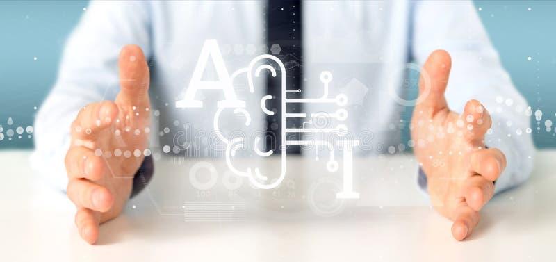 Icono de la inteligencia artificial de la tenencia del hombre de negocios con medio brai foto de archivo libre de regalías