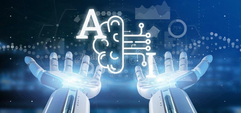 Icono de la inteligencia artificial de la tenencia de la mano del Cyborg con la media representación del circuito 3d del cerebro  libre illustration