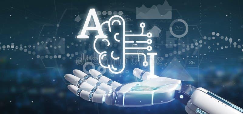 Icono de la inteligencia artificial de la tenencia de la mano del Cyborg con la media representaci?n del circuito 3d del cerebro  ilustración del vector