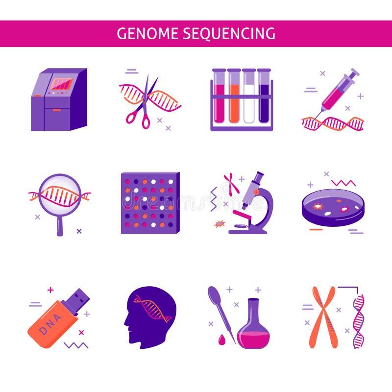 Icono de la investigación del genoma fijado en estilo plano ilustración del vector