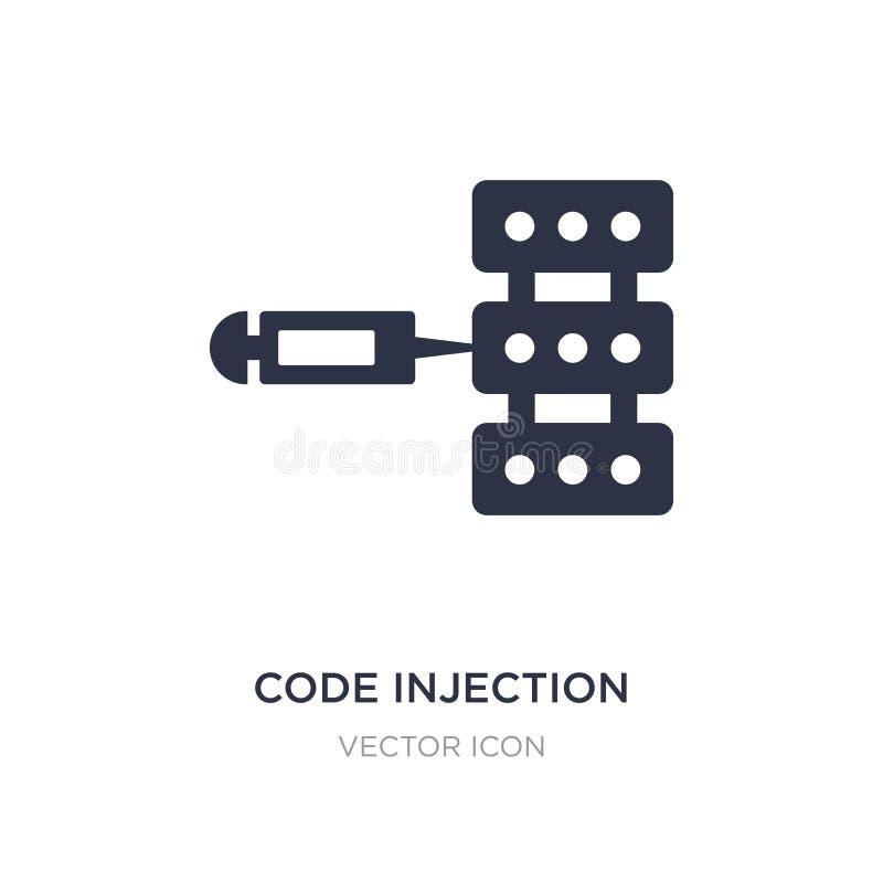 icono de la inyección del código en el fondo blanco Ejemplo simple del elemento del concepto cibernético libre illustration