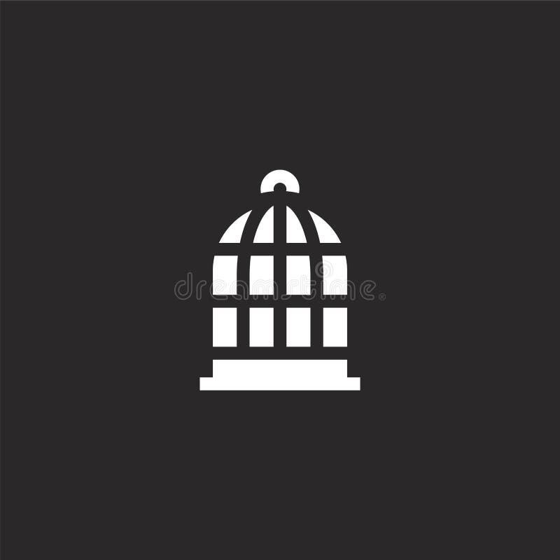Icono de la jaula de p?jaros Icono llenado de la jaula de pájaros para el diseño y el móvil, desarrollo de la página web del app  stock de ilustración