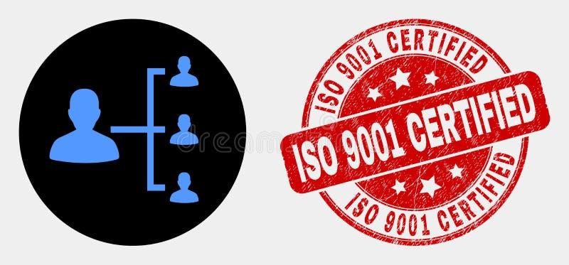 Icono de la jerarquía de la gente del vector y sello certificado rasguñado del ISO 9001 stock de ilustración