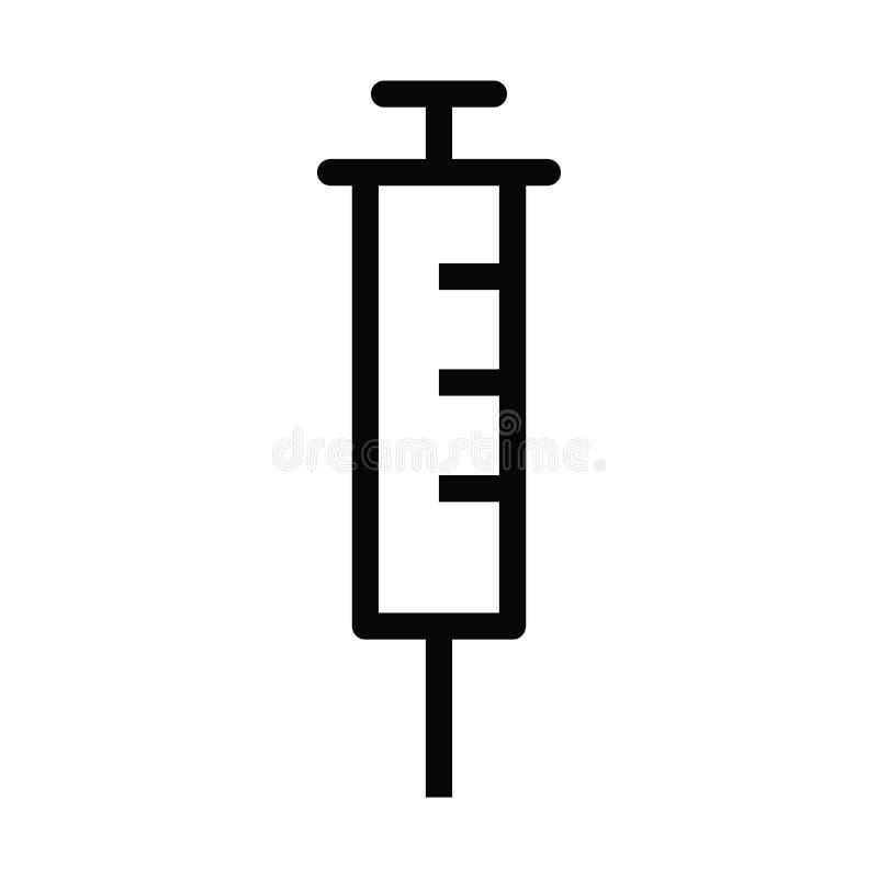 Icono de la jeringuilla con estilo del esquema ilustración del vector