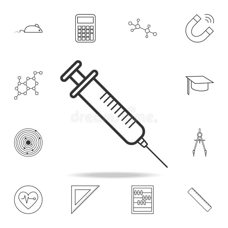 Icono de la jeringuilla Sistema detallado de ciencia y de aprender iconos del esquema Diseño gráfico de la calidad superior Uno d libre illustration