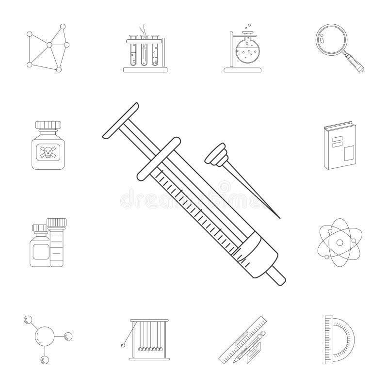 Icono de la jeringuilla Sistema detallado de ejemplos de la ciencia y del laboratorio Icono superior del diseño gráfico de la cal libre illustration