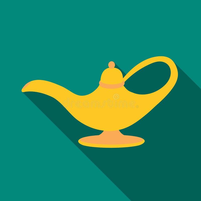 Icono de la lámpara de aceite en estilo plano aislado en el fondo blanco Ejemplo árabe del vector de la acción del símbolo de los stock de ilustración
