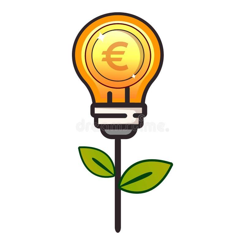 Icono de la lámpara de la moneda, estilo plano libre illustration