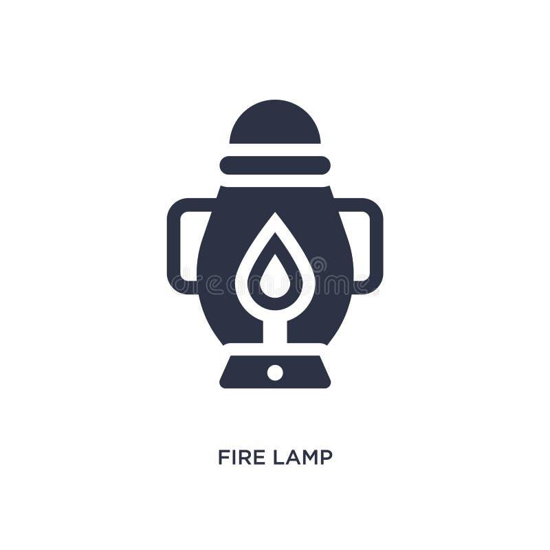 icono de la lámpara del fuego en el fondo blanco Ejemplo simple del elemento del concepto que acampa ilustración del vector