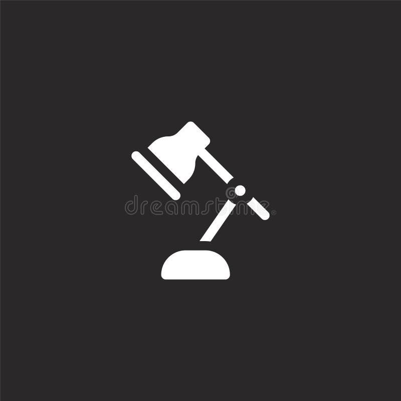 Icono de la l?mpara de escritorio Icono llenado de la lámpara de escritorio para el diseño y el móvil, desarrollo de la página we libre illustration