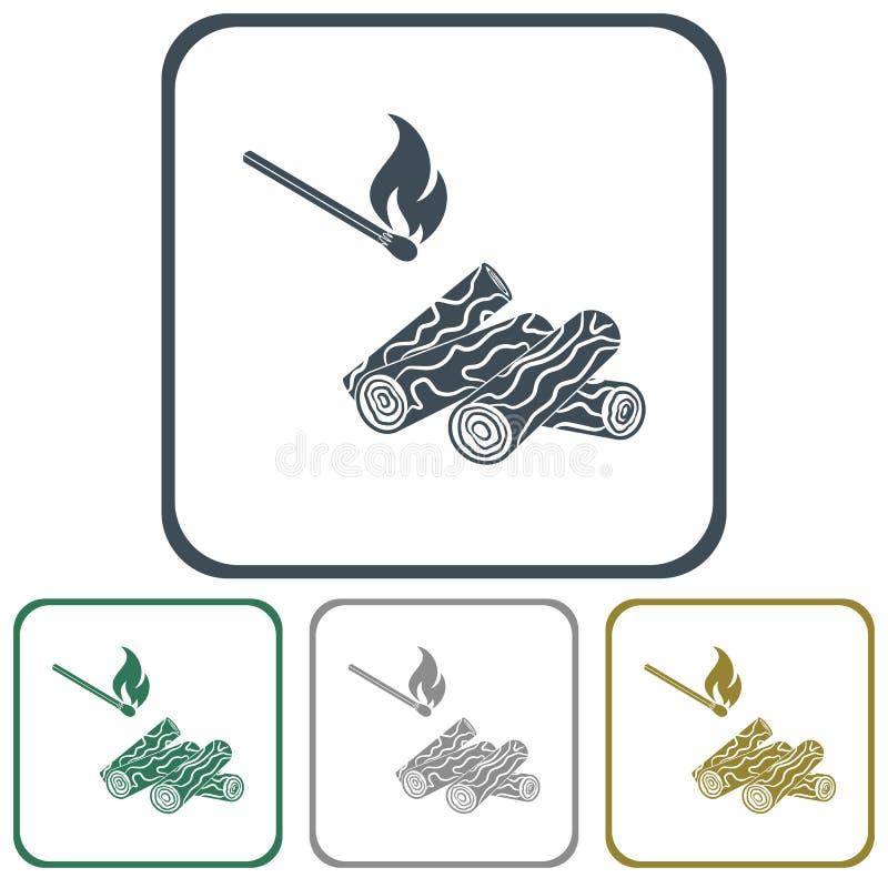 Icono de la leña y de los partidos ilustración del vector