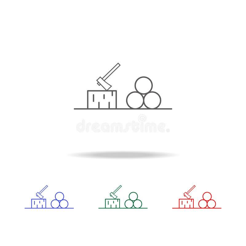 icono de la leña y del hacha Elementos en los iconos coloreados multi para los apps móviles del concepto y del web Iconos para el libre illustration