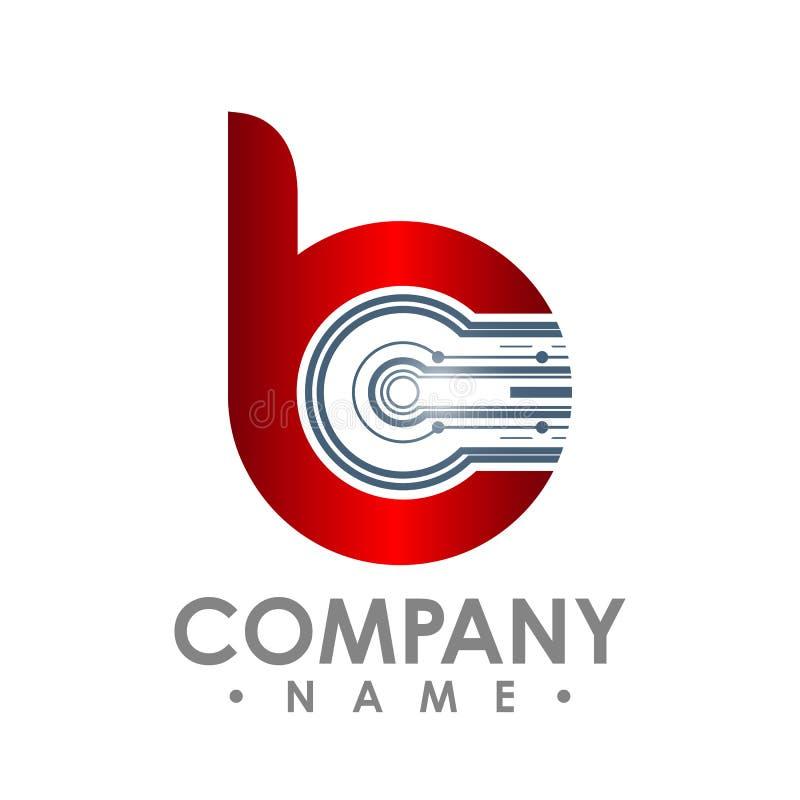 Icono de la letra B El logotipo, el ordenador y los datos elegantes de la tecnología se relacionaron ilustración del vector