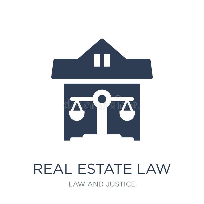 icono de la ley de las propiedades inmobiliarias Icono plano de moda de la ley de las propiedades inmobiliarias del vector encend libre illustration