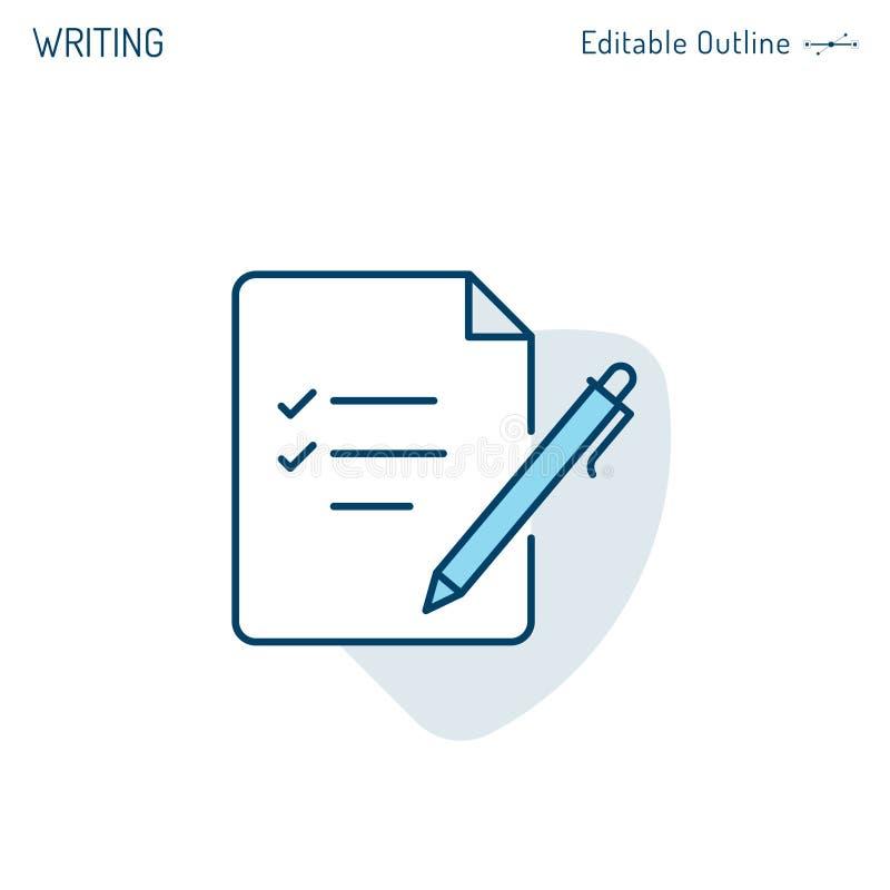 Icono de la libreta, icono de la escritura, del fichero, pluma y papel, documento de negocio de firma, lista de control, ficheros stock de ilustración