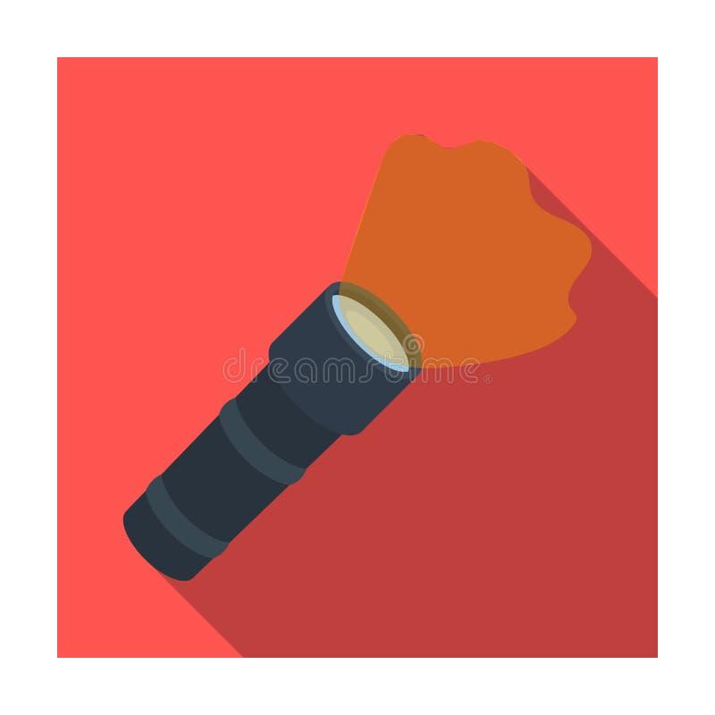 Icono de la linterna en estilo plano aislado en el fondo blanco Ejemplo del vector de la acción del símbolo de la policía libre illustration