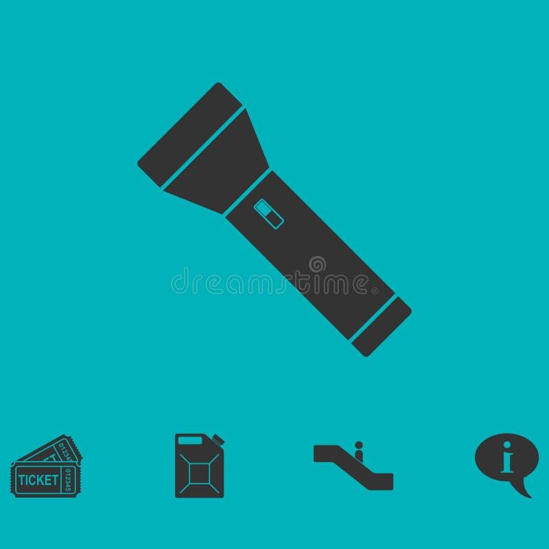 Icono de la linterna plano ilustración del vector