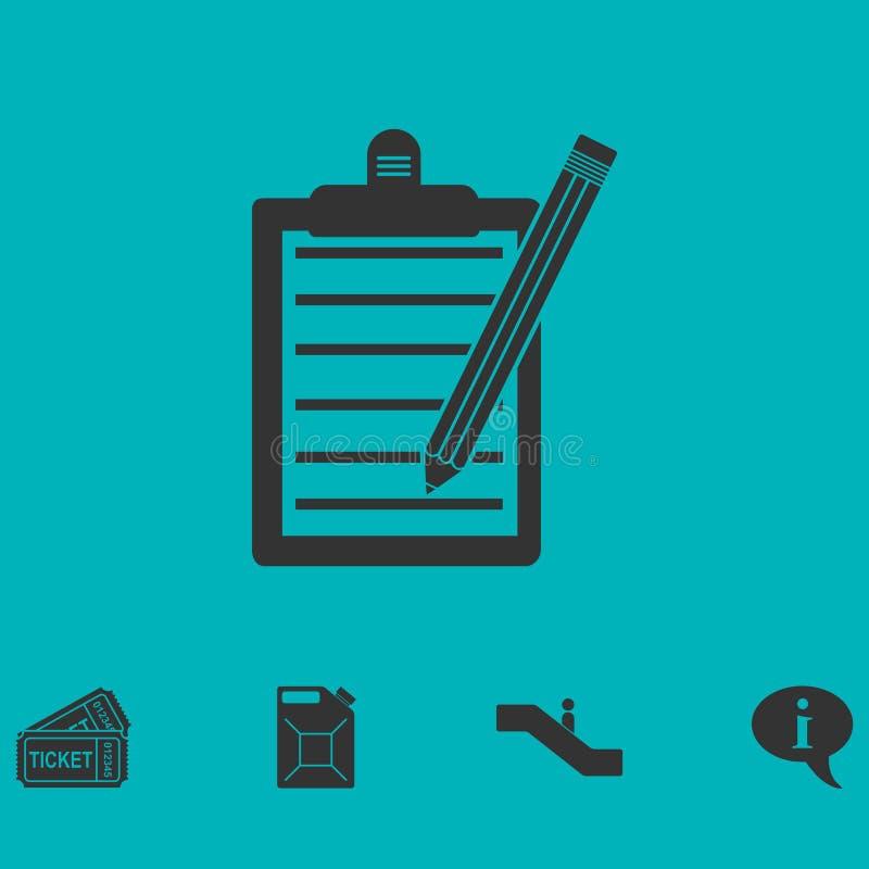 Icono de la lista de control plano ilustración del vector