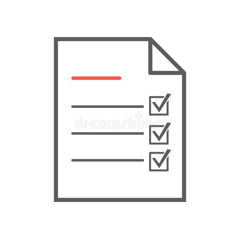 Icono de la lista de control, línea fina ejemplo del vector ilustración del vector