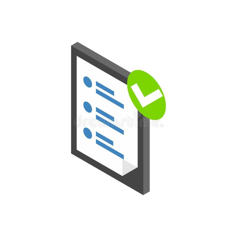 Icono de la lista de verificación, estilo isométrico 3d libre illustration