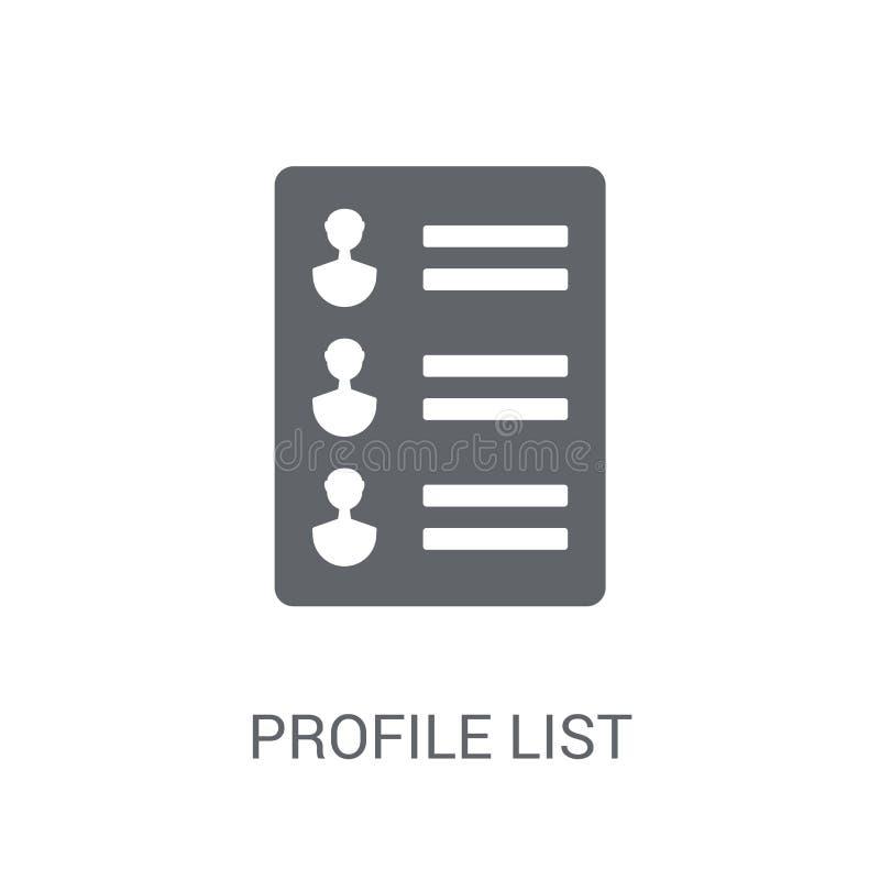 icono de la lista del perfil Concepto de moda del logotipo de la lista del perfil en el CCB blanco ilustración del vector